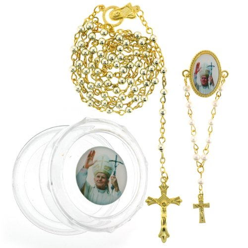 Gold Color Rosary and Pope John Paul II Lapel Pin Set with Clear Plastic Rosary Case - 3mm Beads - 24