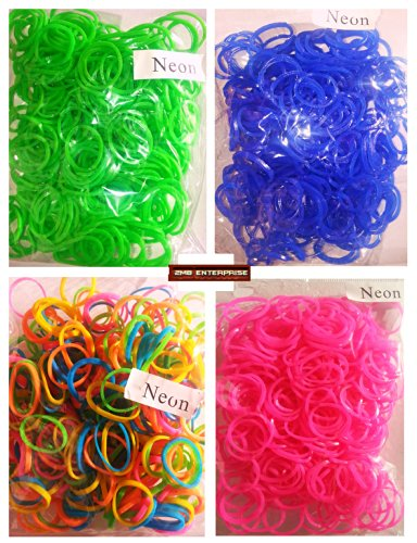 Loom Rubber Bands - 1300 pc NEON Rubber Band Refill Mega Value Pack with Clips* Blue- Green -Pink -Mix Colors * 325 Each of 4 Different Colors * 365 Day 100% Money Back Guarantee - 1