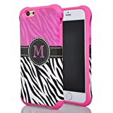 Iphone 6 Case, Meaci® Cell Phone Case for Iphone 6 (4.7 Inch) Case 2 in 1 Combo Hybrid Hard Pc & Rubber Case Dual Layer Bumper with Smooth Exquisite Pink Black Zebra Pattern Protective Case - Pink Rubber