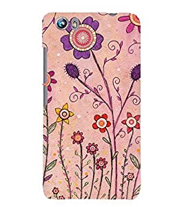 Printvisa Pink And Puple Flowers Back Case Cover for Micromax Canvas Fire 4 A107