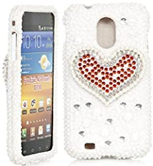 buy Galaxy S2 Case, Isee Case 3D Pearl Bling Glitter Rhinestone Crystal Full Cover Case For Sprint Samsung Galaxy S Ii S2 Epic Touch 4G Sph-D710 (D710-3D White Pearl) (Red Heart)