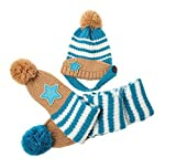 BuyHere Cute Unisex Baby Smile Star Knitting Unisex Baby Cap with ScarfBlue