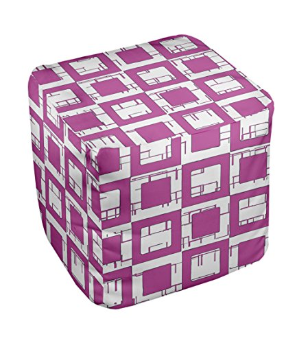 E by design FG-N2-Radiant Orchid-13 Geometric Pouf