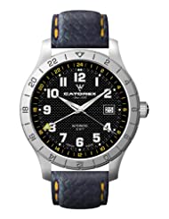 Catorex Men's 8164-3 Voyager 3 Black Dial Patterned Leather Watch