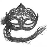BLACK LACE WITH CRYSTAL JEWELS VENETIAN MASQUERADE PARTY CARNIVAL MASK ON A HEAD BAND