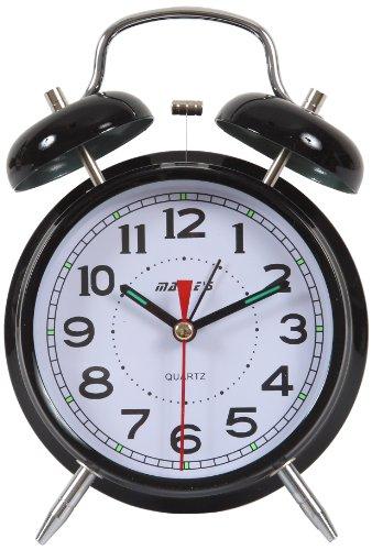 Maple's 4-Inch Double Bell Alarm Clock, Black Finish