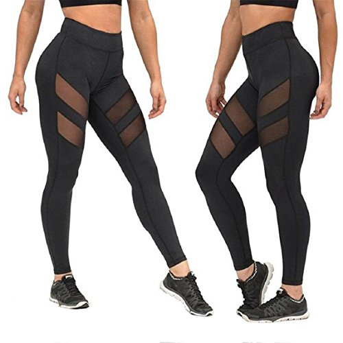 Lookatool Women High Waist Skinny Leggings of Patchwork Mesh Push Up Yoga Pants (M, black)