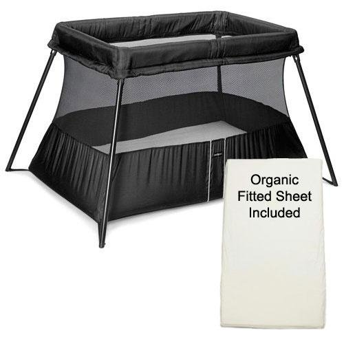 baby bjorn 040180us travel crib light 2 black with organic fitted. Black Bedroom Furniture Sets. Home Design Ideas