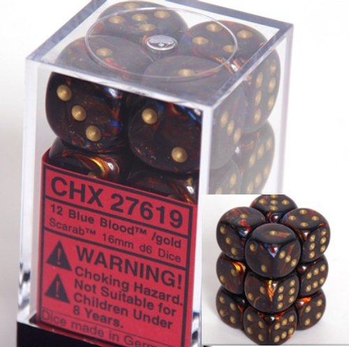 Chessex Scarab 16mm d6 Blue Blood w/Gold Dice Block (12) Dice - 27619