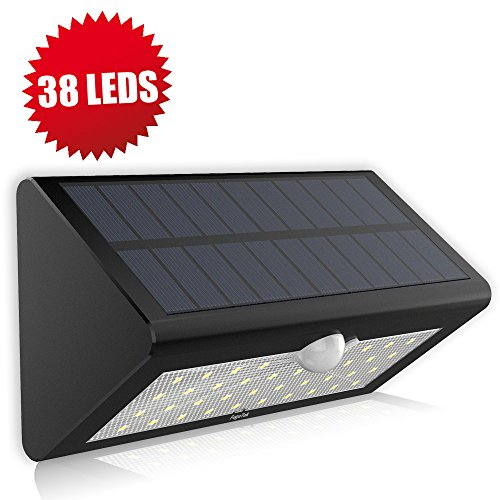Solar Motion Sensor Light, Fugetek FT-38L Super Bright 38 LED, Genuine LG Rechargeable Batteries, Solar Powered Wireless Weather-proof Motion Activated Solar Energy Home Office Security Light (Black) (Solar Motion Led Light compare prices)