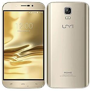 PADGENE® UMI ROME Sim Free Unlcocked 3G/4G(FDD-LTE) Mobile Phones, 5.5 inch 1280x720 HD Screen Android5.1 Smart Phone MTK 6735 OCTA CORE(3G ROM,16GB RAM)Dual Sim Dual Camera(13.0MP Rear Camera,2.0 Front Camera) GPS Bluetooth 4.0 Cellphone (UMI 5.5/Gold)