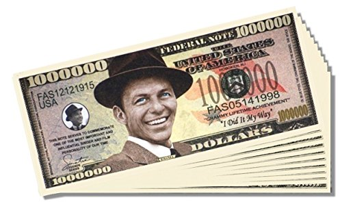 Frank Sinatra Novelty Million Dollar Bill - 10 Count with Bonus Clear Protector & Christopher Columbus Bill