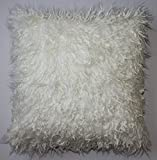 Curly Mongolian White Faux Fur 18 X 18 In. Decorative Pillow - 1pc.