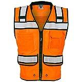 ML Kishigo - Economy Zipper Surveyor's Vest, Color: Orange, Size: Large