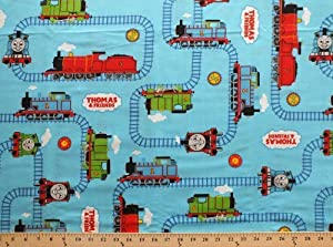 Thomas the tank engine friends trains on for Train print fabric