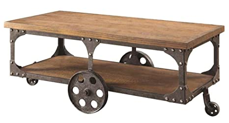 Rustic Brown Coffee Table with Shelf by Coaster Furniture