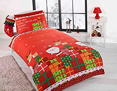 Children's Christmas Duvet Bedding Set Santa wrapped presents