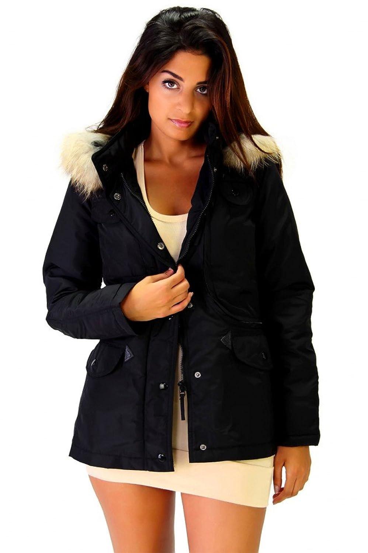 Moderne Winter Jacke mit Kapuze und Echtfell Schwarz