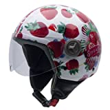 NZI 490004G606 3D Vintage II Candy-Fruit Open Face Motorcycle Helmet, White Background/ Pictures of Strawberries, S