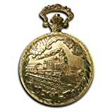 Locomotive Conductor's Pocket Watch 14k Gold-tone Train 40mm Watch with 12″ Chain