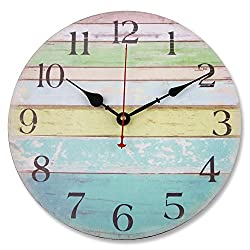 Soledi 12 Vintage Colorful Stripe Design Rustic Country Tuscan Style Wooden Decorative Round Wall Clock (Ocean)