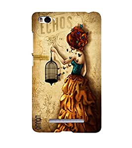 Omnam Vintage Girl Carrying Cage In Hand Printed Designer Back Cover Case For Xiomi Mi4i