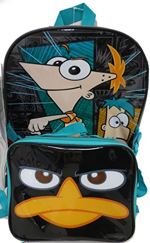 Disney Phineas and Ferb Large Backpack with Detachable Utility Bag and Bonus Hydrator Pouch