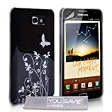 Butterfly Flower Hard Hybrid Case Cover For The Samsung Galaxy Note Black Silver With Screen Protector Filmby Yousave