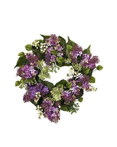 Nearly Natural Hanel Lilac Wreath, Purple