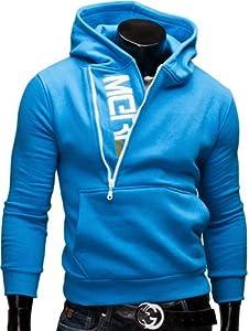 MERISH Kapuzenpullover Pullover Slim Fit Sweatshirt 08 Türkisblau L