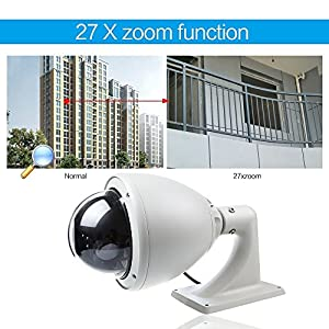 1/4'' Sony Ccd High Speed 27xzoom Pan/tilt (360°/180°) Weatherproof PTZ Ir Night Vision Support Patrol Mode 256 Preset Positions Remote Control PTZ Outdoor Security Dome Camera for Police Station/school/house/hospital,etc