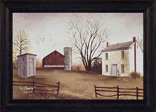 No Plumbing by Billy Jacobs 15x21 Salt Box House Red Barn Outhouse Water Pump Primitive Folk Art Print Framed Picture (Primitive Print Salt Box compare prices)
