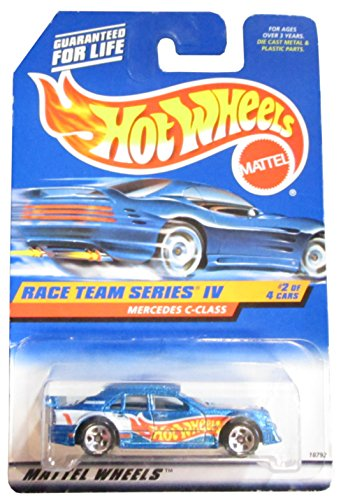 Mattel Hot Wheels 1998 1:64 Scale Race Team Series IV Blue Mercedes C-Class Die Cast Car 2/4