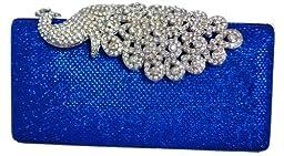 Chicastic Mesh Rhinestone Peacock Hard Box Wedding Cocktail Clutch Purse - Royal Blue