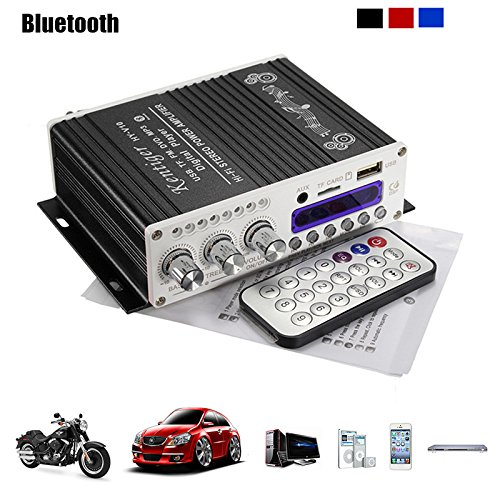 Amplificatore stereo Mini Bluetooth,ELEGIANT 12V Hi-Fi Mini Bluetooth Auto MP3 Amplificatore audio stereo AMP Scooter Booster Radio MP3 Amplificatore MP3 per Auto Motor CD DVD Nero
