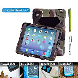 Ipad Case,Ipad Mini 2 Case,Ipad Mini 3 Case,ACEGUARDER® ipad mini case Case for kids Rainproof Shockproof Anti-Dirt Drop Resistance Case(camo-black)