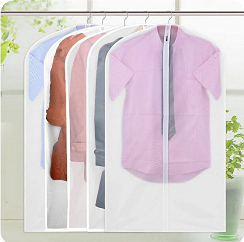 Colorcity Easy Organize Travel Cloth Bag Set of 5 units Clear Zipped Suit Bags Zipper Garment Clothes Covers 60*128CM