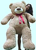 Big-Plush-Giant-Teddy-Bear-5-Feet-Tall-Custom-Personalized-Your-Name-or-Message-Imprinted-on-Bears-Neck-Ribbon-Bow-Tan-Color-with-Bigfoot-Paws-Giant-Stuffed-Animal-Bear