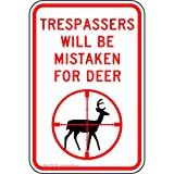 ComplianceSigns Reflective Aluminum No Trespassing Sign, 18 x 12 in. with English, White