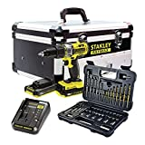 Stanley Fatmax FMCK625D2F-QW KIT FMC625 18V Hammer Drill   50 Piece Accessory Set (2 Batteries   Charger   Aluminium Case)