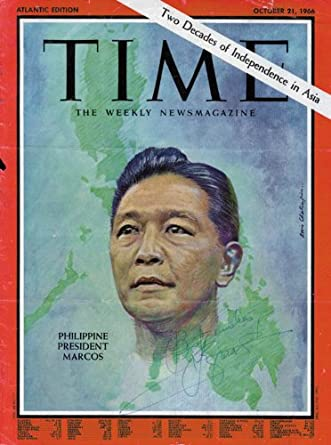 PRESIDENT FERDINAND E. MARCOS (PHILIPPINES) - MAGAZINE COVER SIGNED at