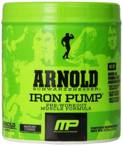 Muscle Pharm Arnold Schwarzenegger Series Iron Pump, Raspberry Lemonade, 30 servings, 6.35oz (Arnold Iron Pump Pre Workout compare prices)