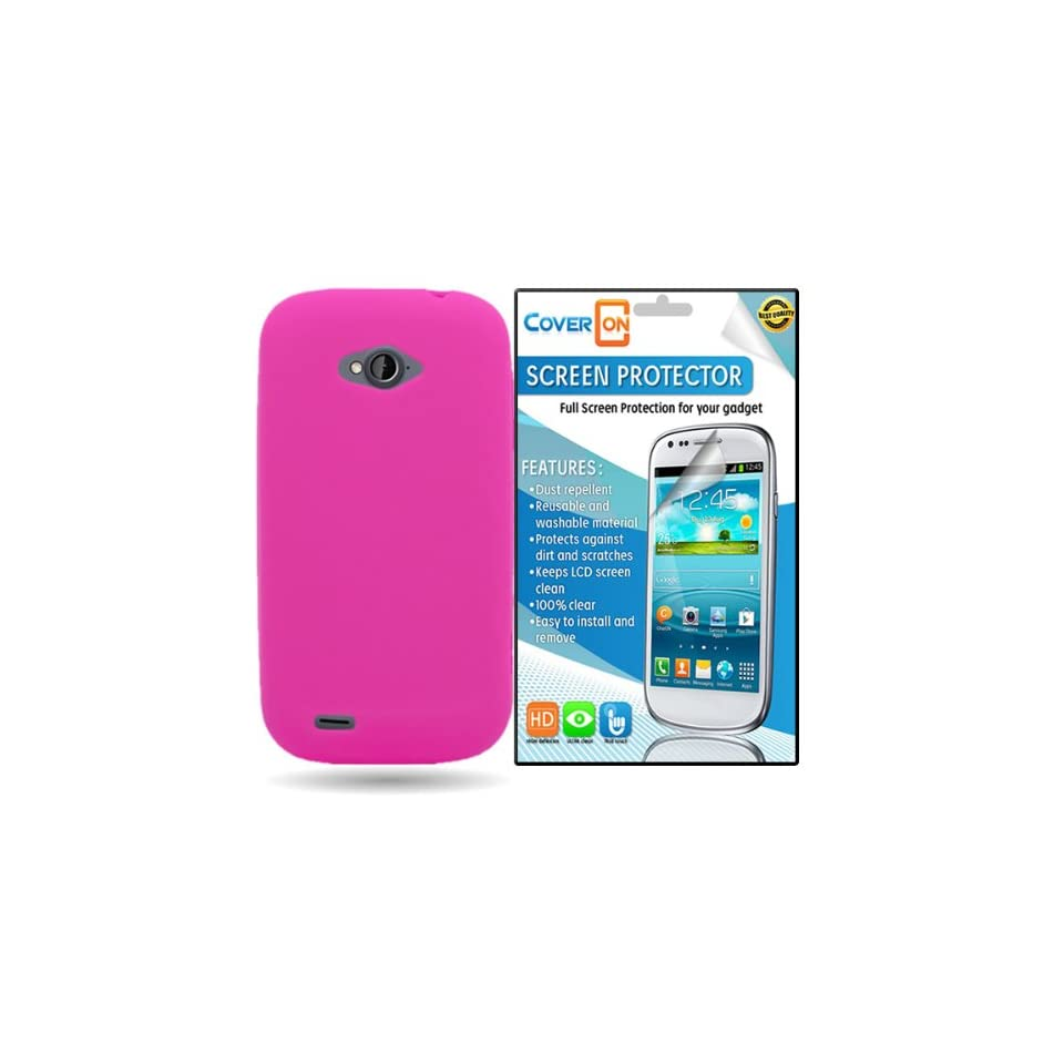 CoverON® ZTE Savvy Silicone Rubber Soft Skin Case Cover Bundle with Clear Anti Glare LCD Screen Protector   Hot Pink