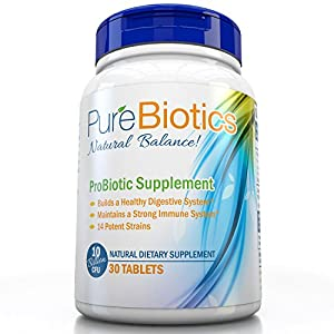 Best Probiotics Supplement: New Improved 10 Billion CFU's Purebiotics Once Daily Small Pearl sized tablet-Formulated with 14 of the Most Essential Strains May Improve Digestion & Boost Immunity for Women, Men & Kids