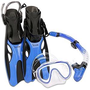 OXA Plongée sous-marine Snorkel Set y compris Dry Top Snorkel, Masque de Windows en verre trempé et Trek Fins (Bleu, S/M)