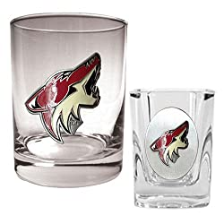 Phoenix Coyotes NHL Rocks Glass & Square Shot Glass Set - Primary Logo