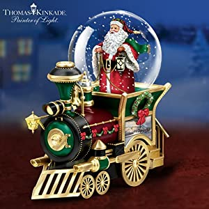 #!Cheap Thomas Kinkade Santa Claus Is Comin' To Town Musical Snowglobe Train Car by The Bradford Exchange