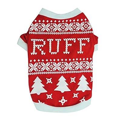 Puppy Dog Clothes, FEITONG Christmas Dog Puppy Dog Christmas Tree Interlock Shirt Apparel Warm Clothes