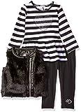Kensie Baby Girls' Faux Fur Vest, Long Sleeve Peplum T-Shirt and Legging