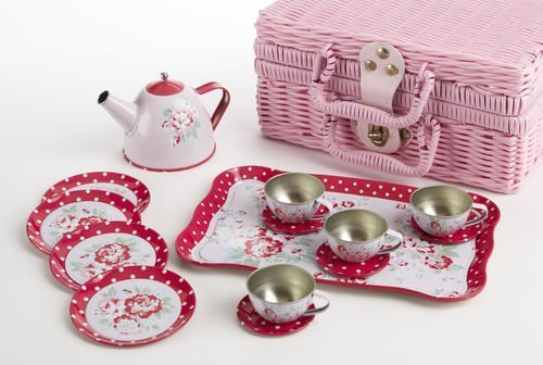 Delton Children'S Tin Tea Set With Roses And Polka Dots By Delton